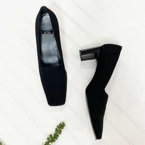Stuart Weitzman Black Fabric Square Toe Heels sz 9